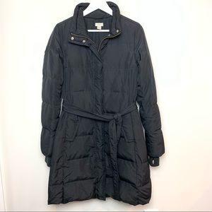J Crew Puffy Parka Black Winter Coat Down Puffer Jacket Long Midi Small Belted